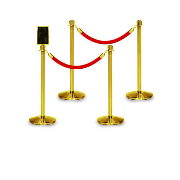 rope barriers polished brass 4 pack