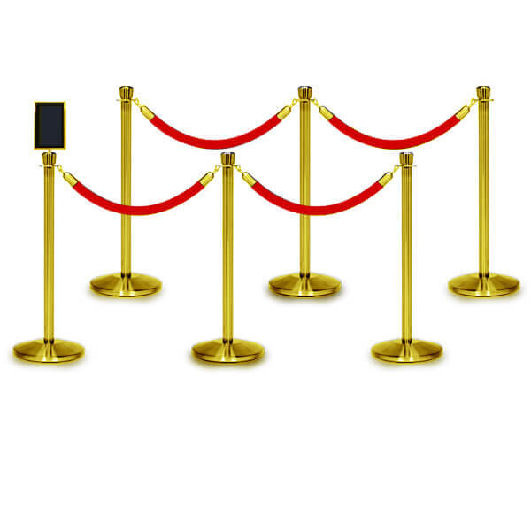 rope barriers polished brass 6 pack