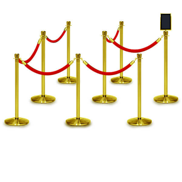 rope barriers polished brass 8 pack