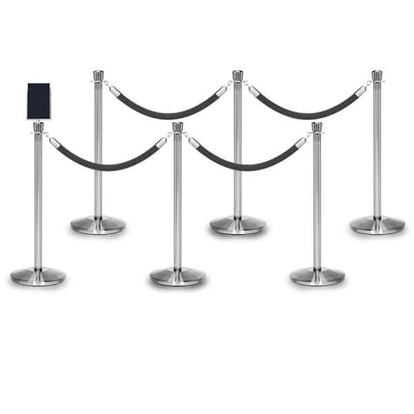 rope barriers polished stainless 6 pack