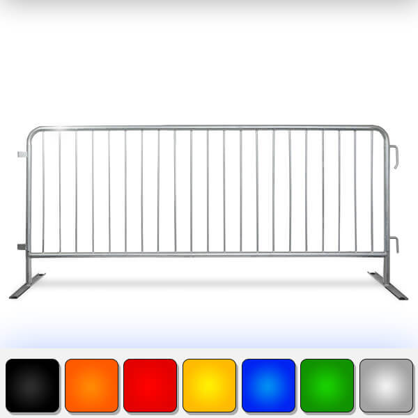 Heavy Duty Steel Barricades With Flat Bases-Crowd Control Barriers 8.5ft
