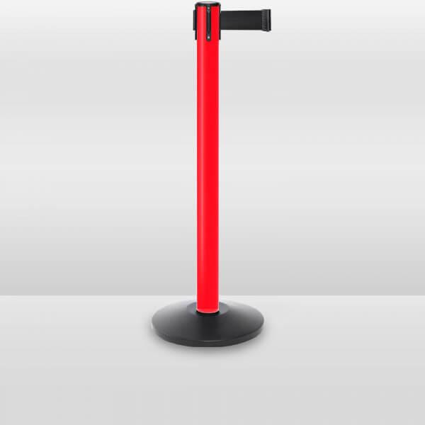 plastic outdoor retractable belt barrier stanchion red
