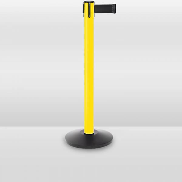 plastic outdoor retractable belt barrier stanchion yellow
