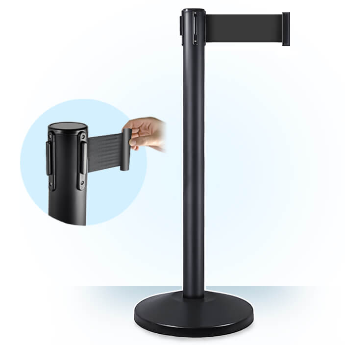 3inch black retractable belt barrier
