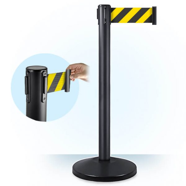 3inch yellow and black retractable belt barrier